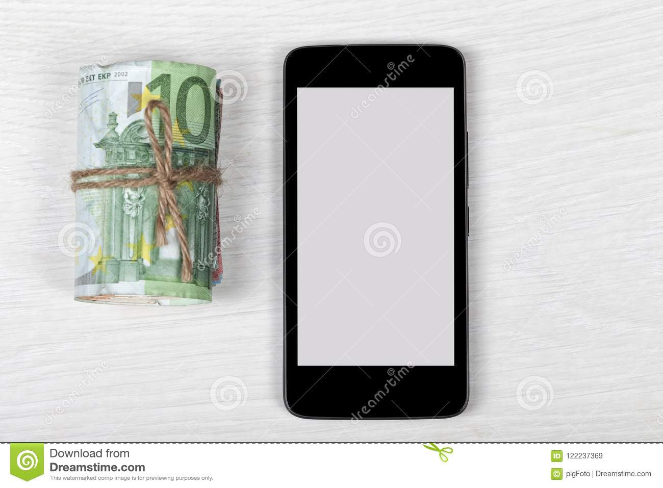 A Black Smartphone Template With The Blank Screen And Money