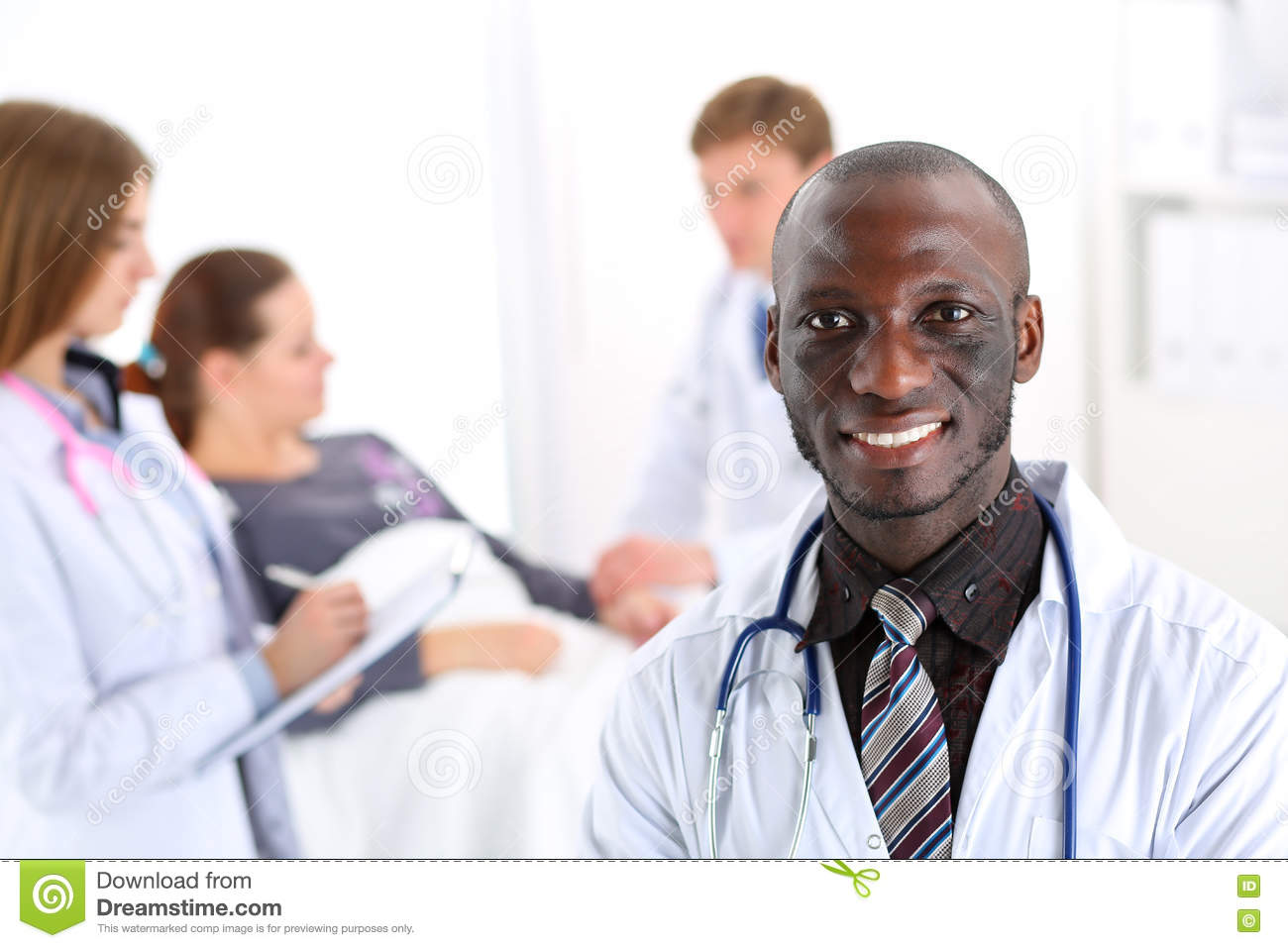 Black Smiling Male Doctor Look In Camera Stock Image - Image