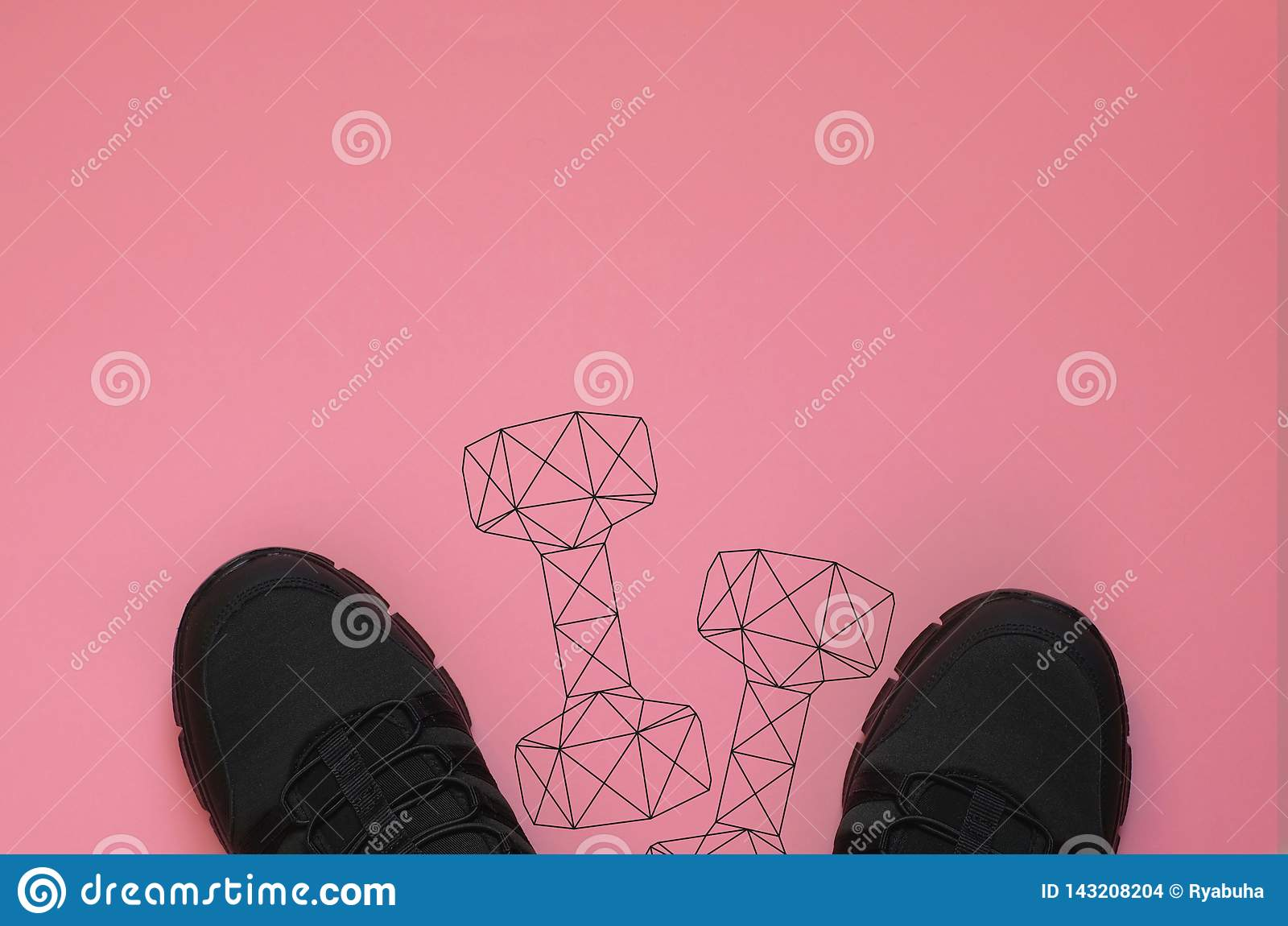 Black sneakers and polygonal gym dumbbell weights on coral background