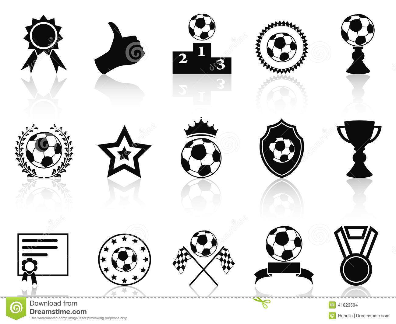 Black soccer award icons set stock vector illustration 41823584 black soccer award icons set alramifo Gallery