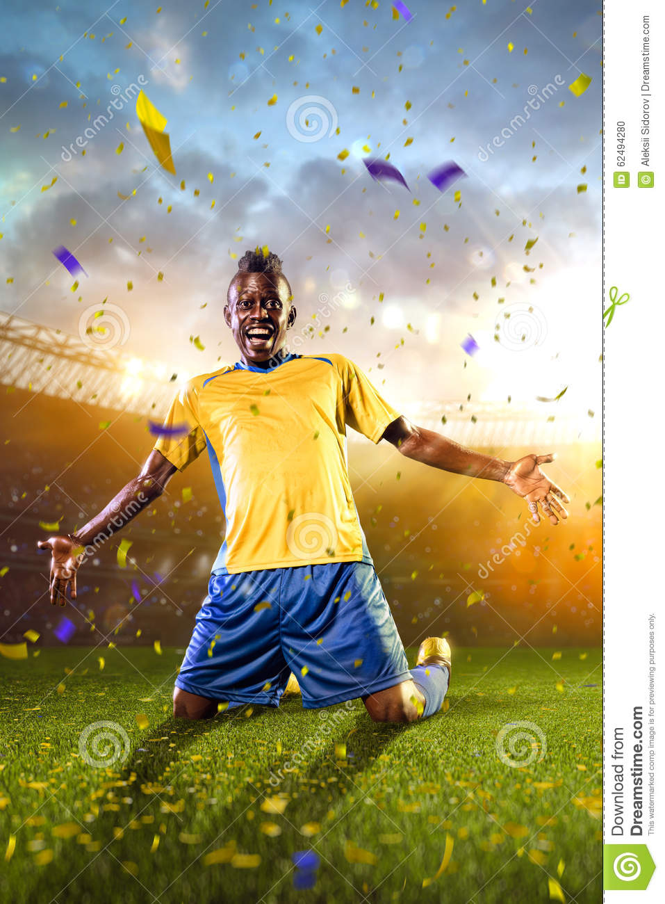 black soccer player winner  stock photo
