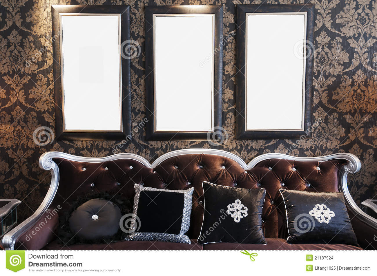Black sofa on black wall