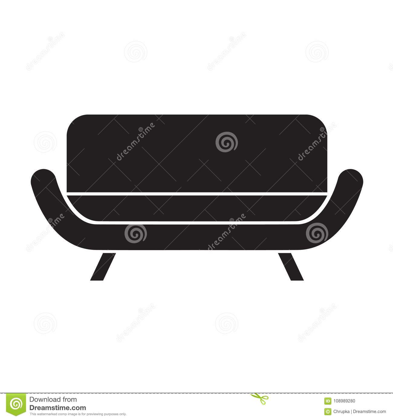 Black Sofa Icon Stock Vector Illustration Of Comfortable 108989280