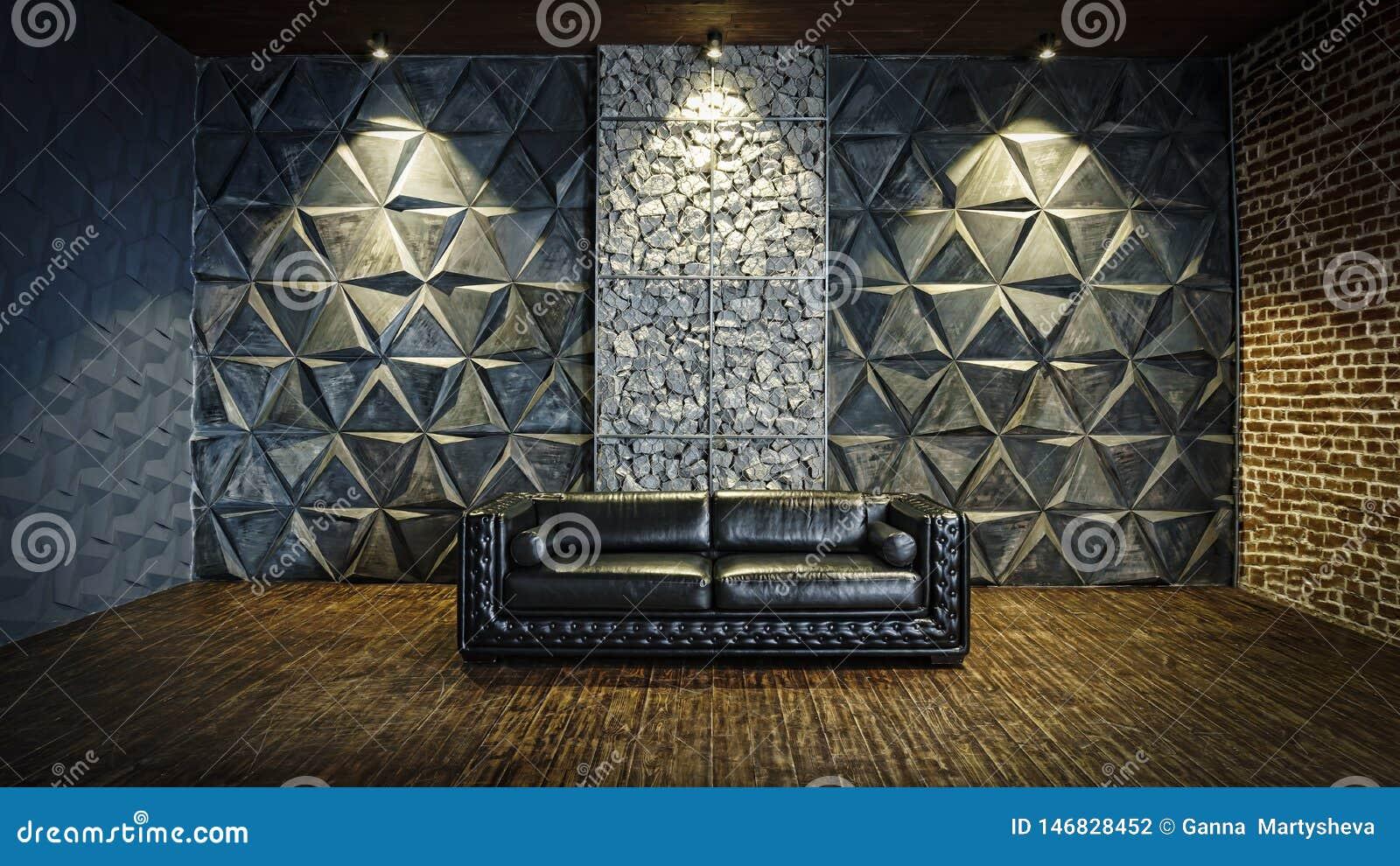 Black  sofa, leather sofa, mystical interior, Halloween, masquerade, carnival,Modern design, empty, interior