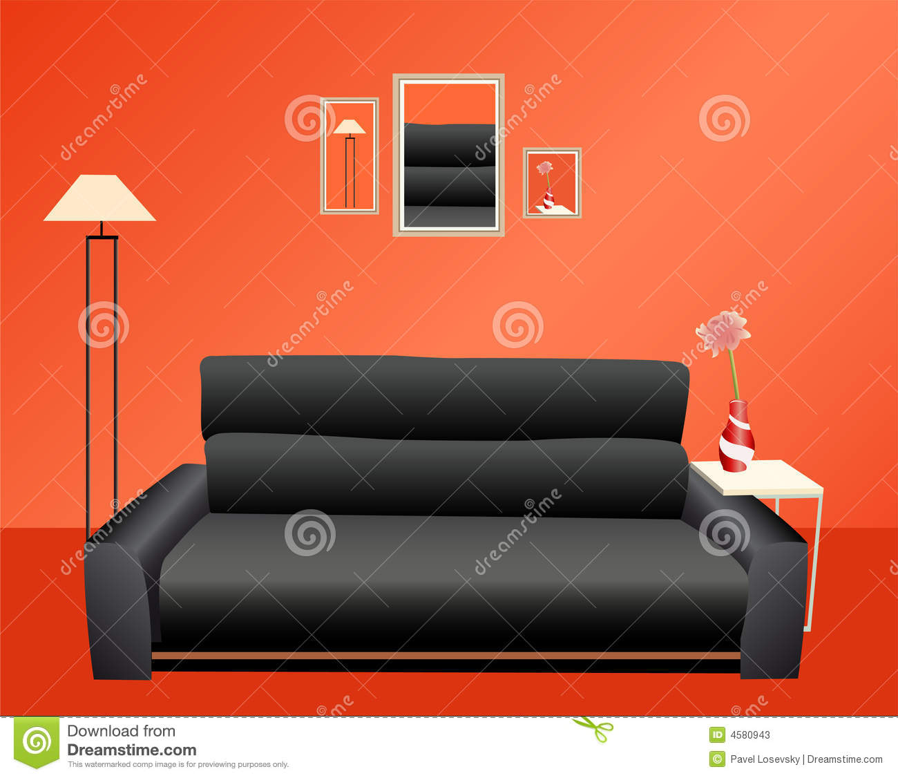 Black Sofa Red Wall Stock s Image