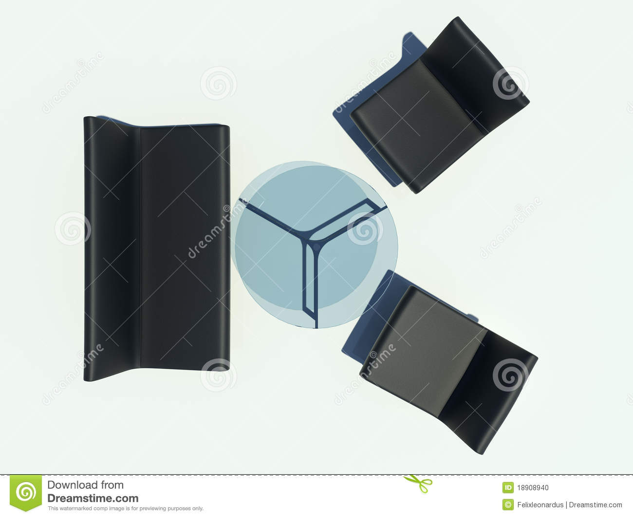 Black Sofa Set Stock Photo Image 18908940