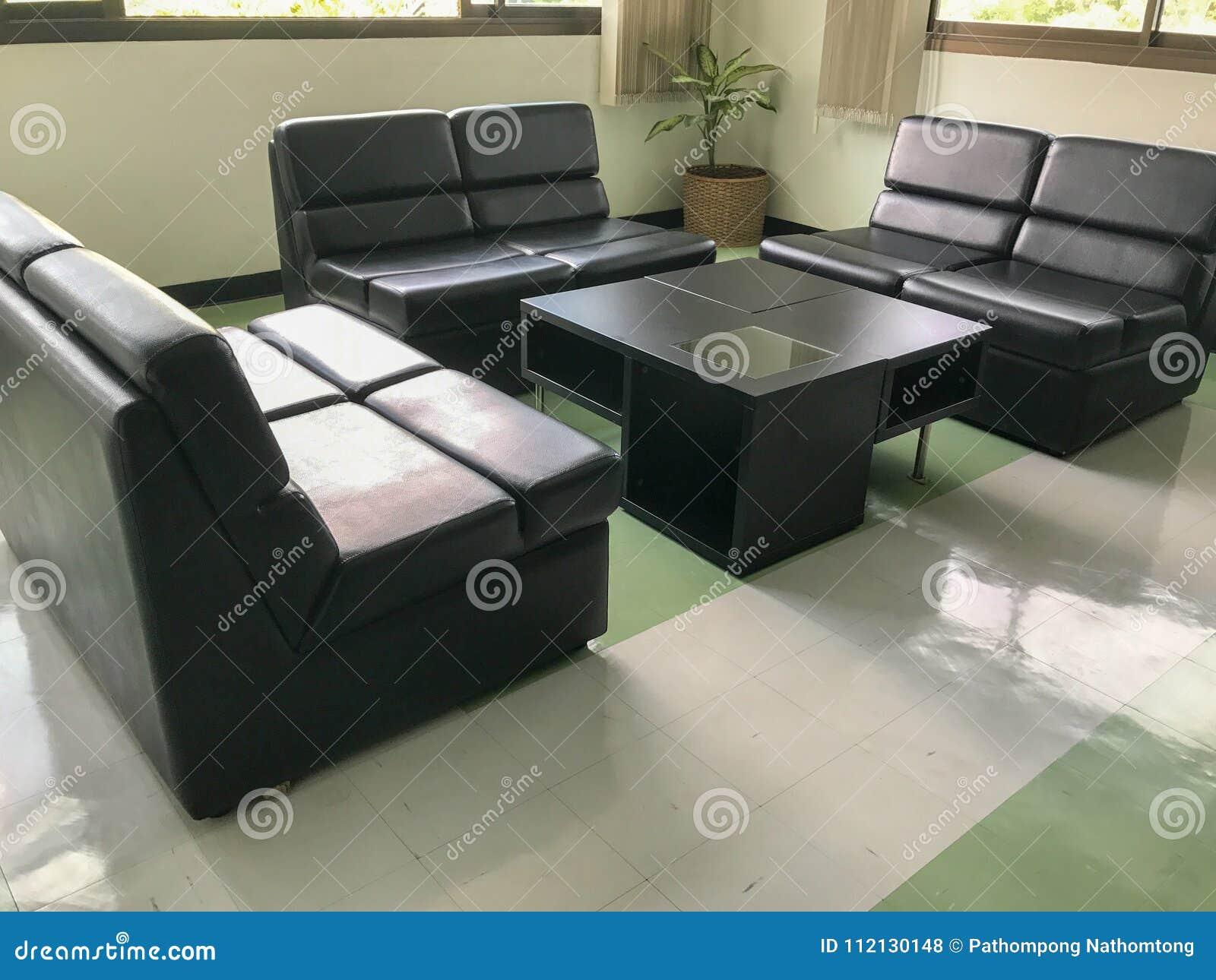 Black Sofa And Table Set Stock Photo Image Of Closeup 112130148