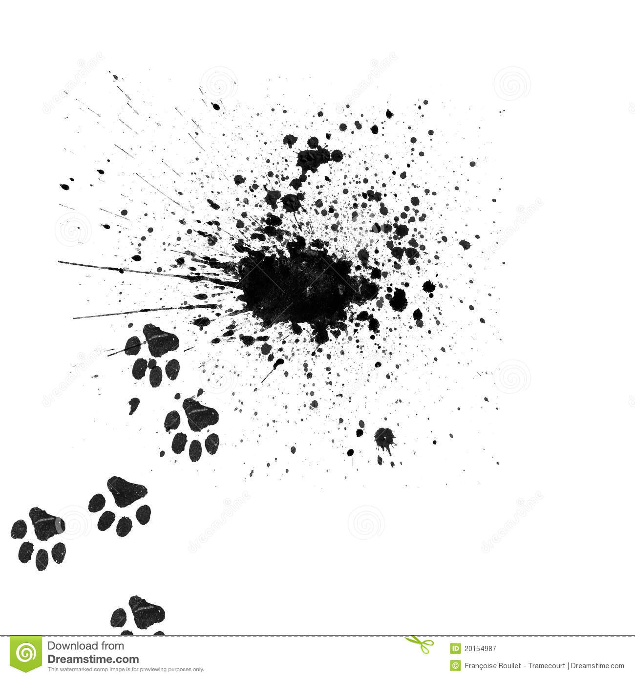 black splatter with cats paws stock image image 20154987