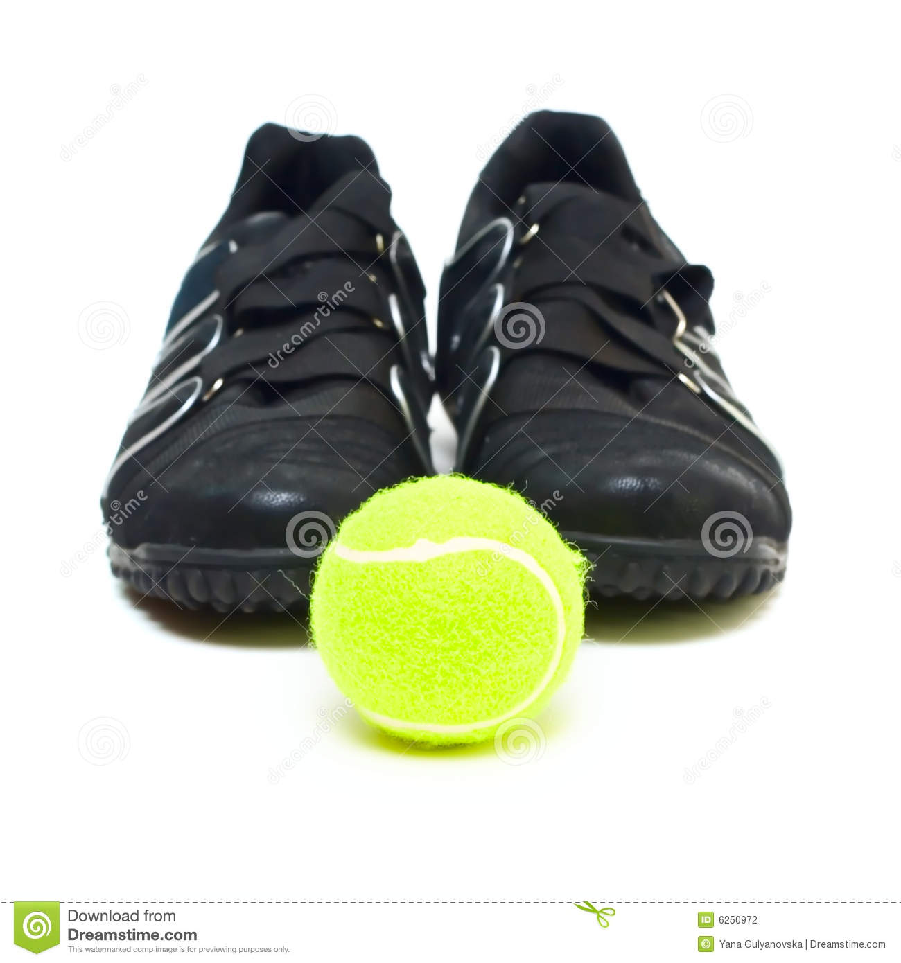 black sport shoes and isolated on white stock