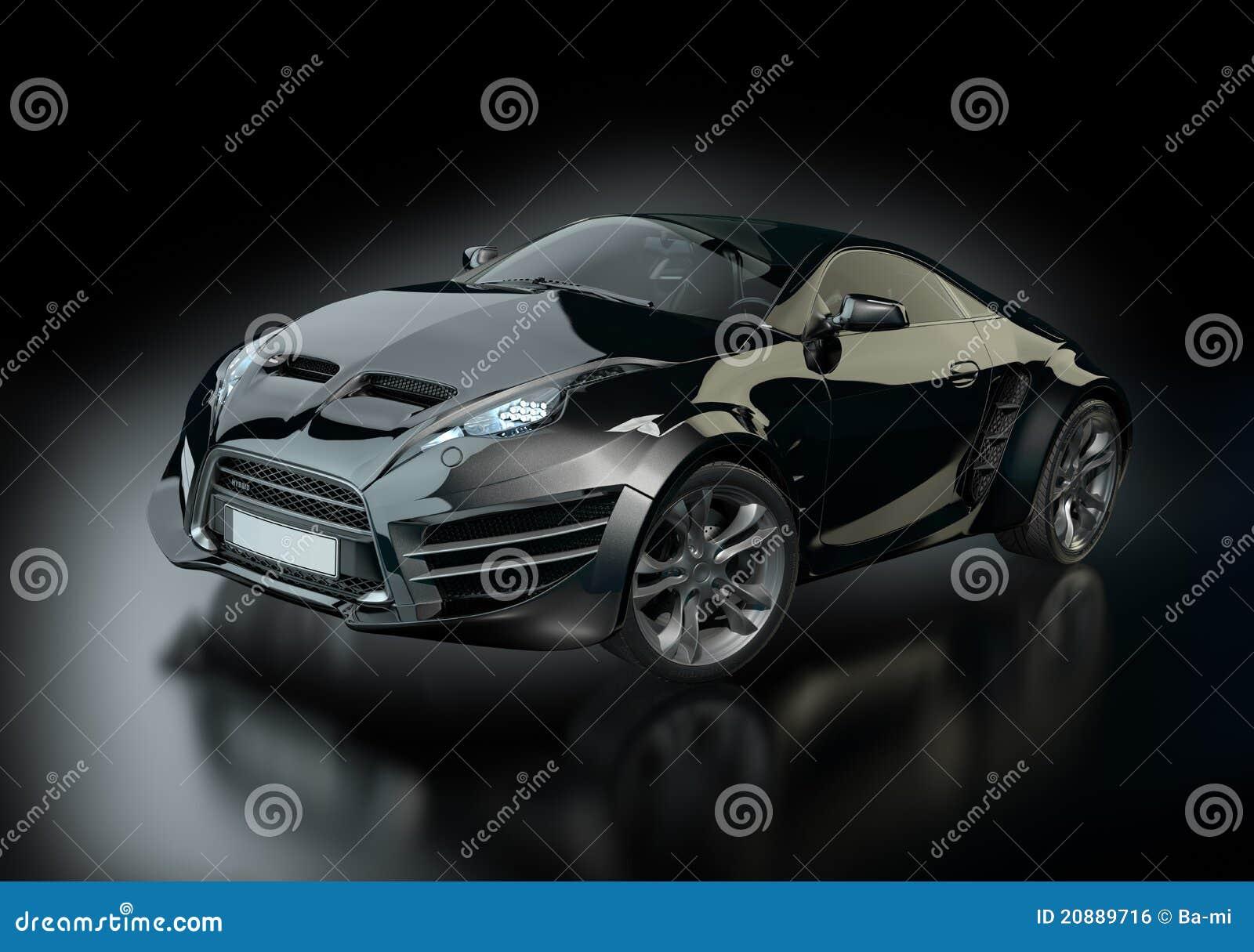 Black Sports Car On A Black Background