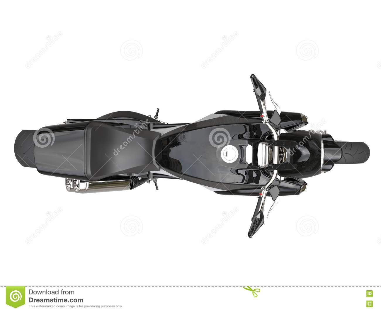 black sports motorcycle top view stock illustration