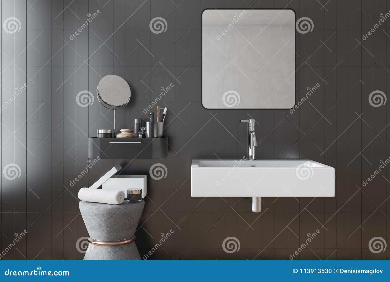 Black Square Bathroom Sink Interior, Tiles Stock Illustration ...