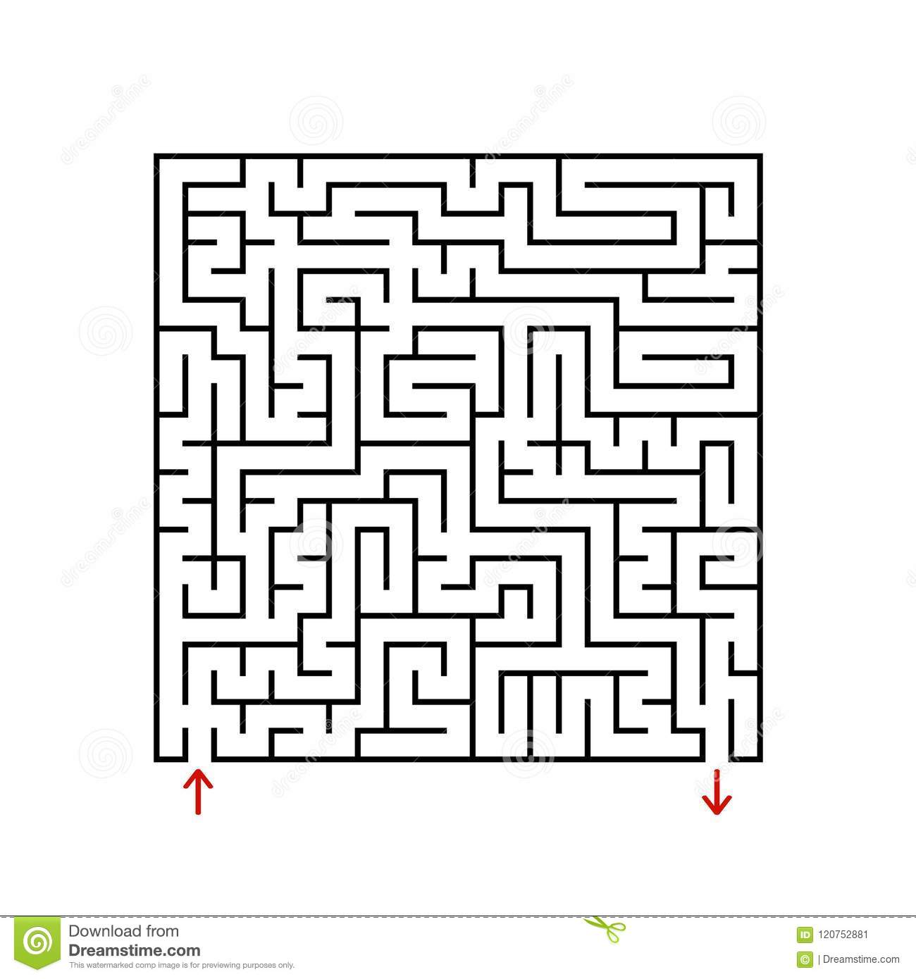Black Square Maze With Entrance And Exit  A Game For Children And