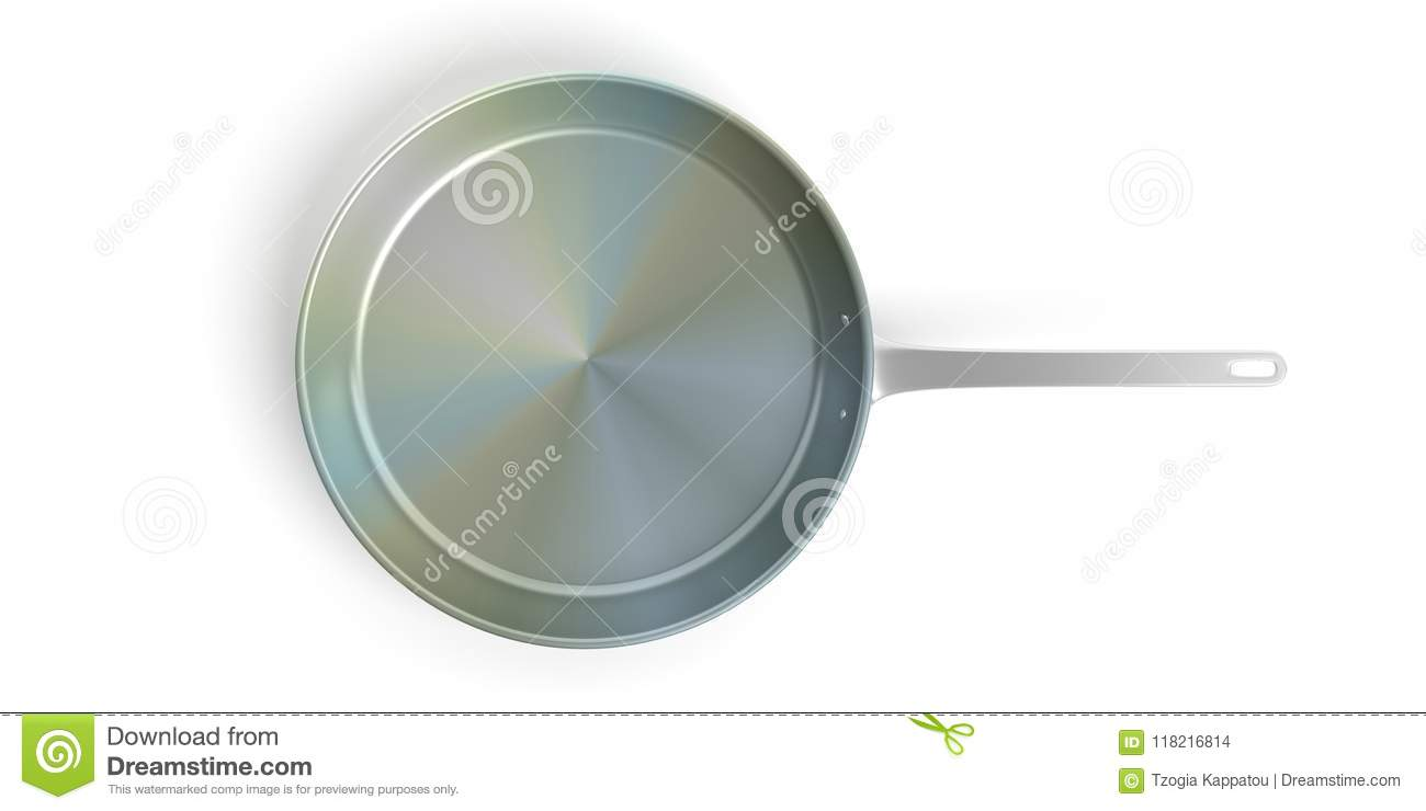 Black stainless steel frying pan isolated on white background. 3d illustration