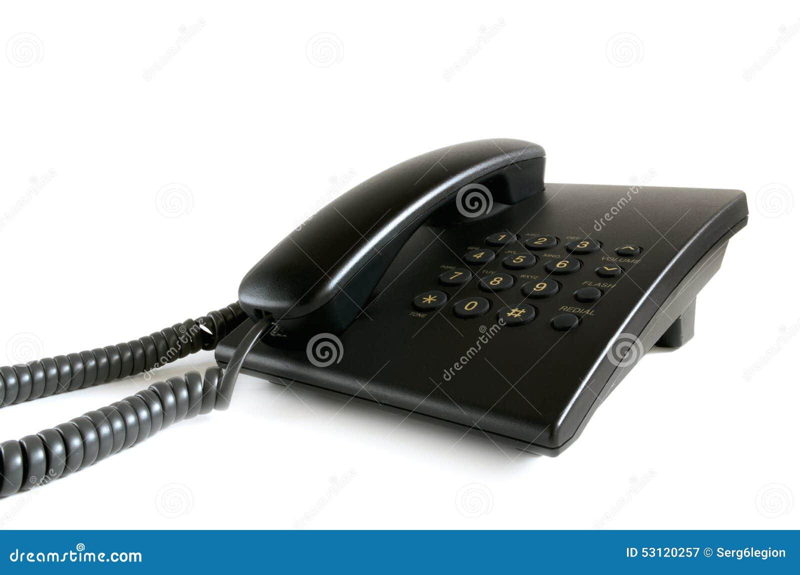 Black stationary phone on a white background stock image image of