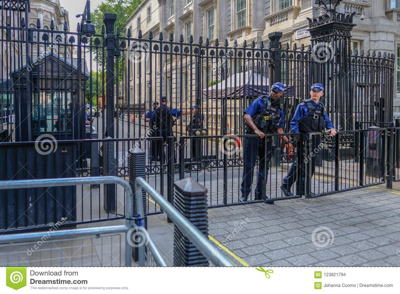 Black steel closed gates protecting the entrace to Downing Street, with armed police.