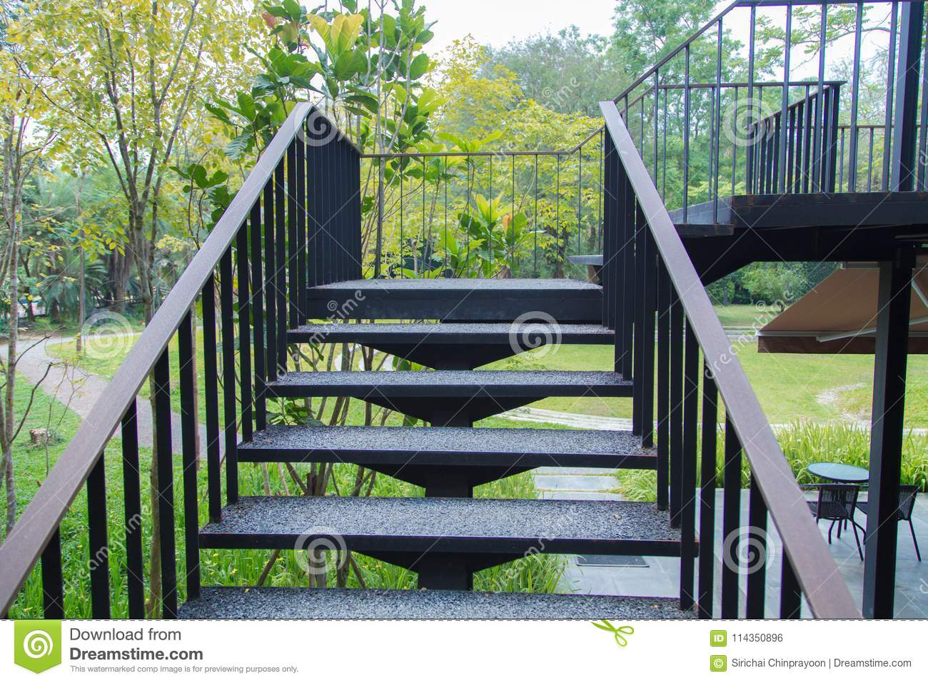 Download Steel Stair Outdoor Stock Photo. Image Of Ladder, Staircase    114350896