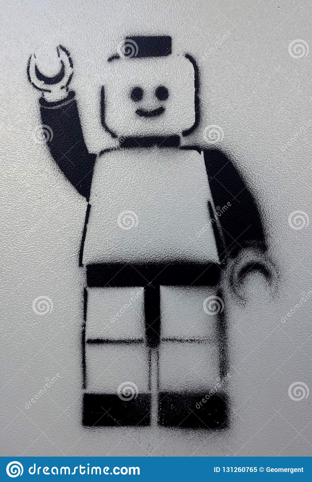 Lego Man Waving In Graffiti Stencil Stock Image - Image of