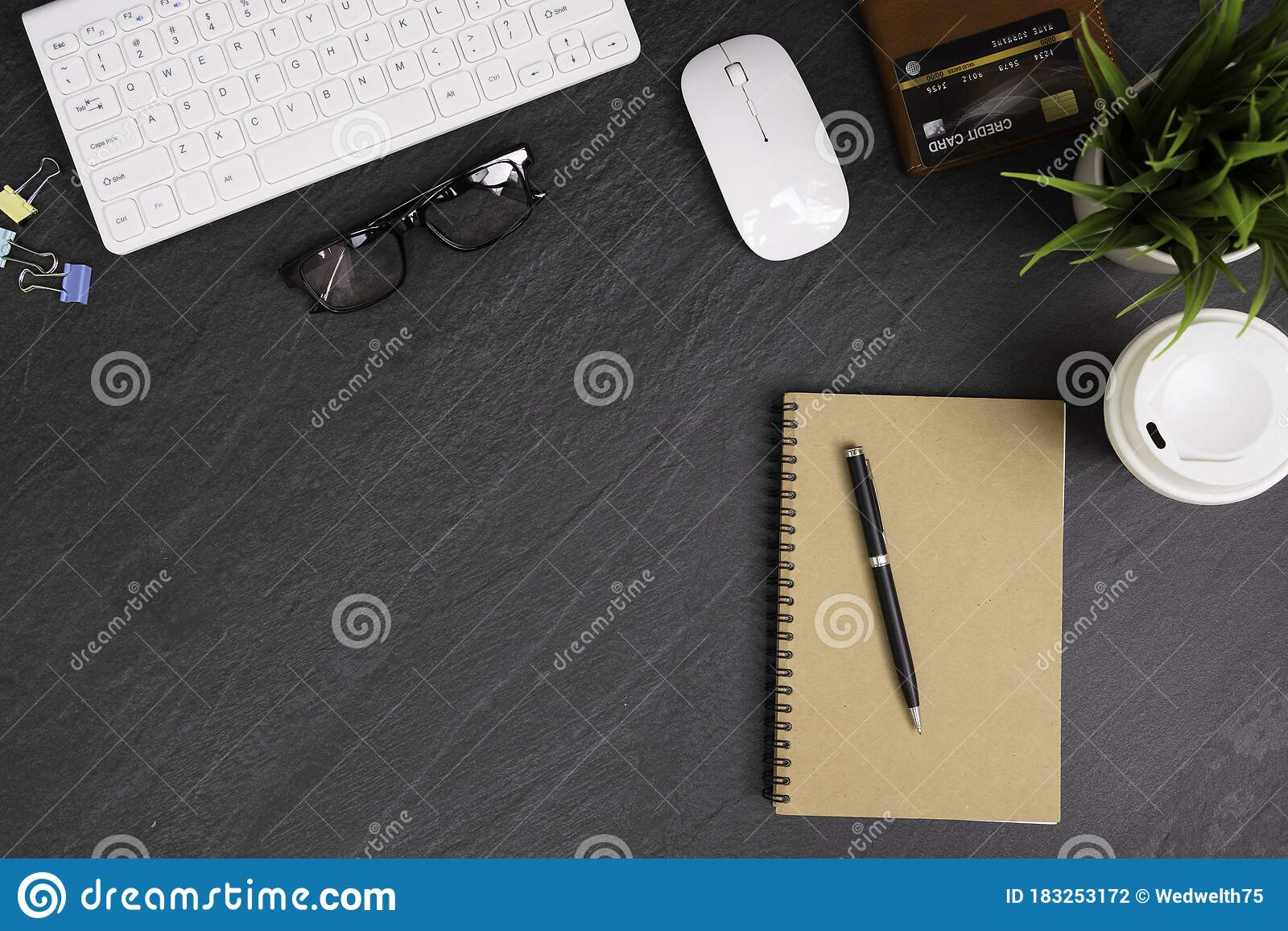 Black Stone Office Desk Table With White Keyboard Notebook Pen Eyeglasses Document Clips Brown Wallet And Credit Card Stock Photo Image Of Flat Keyboard 183253172