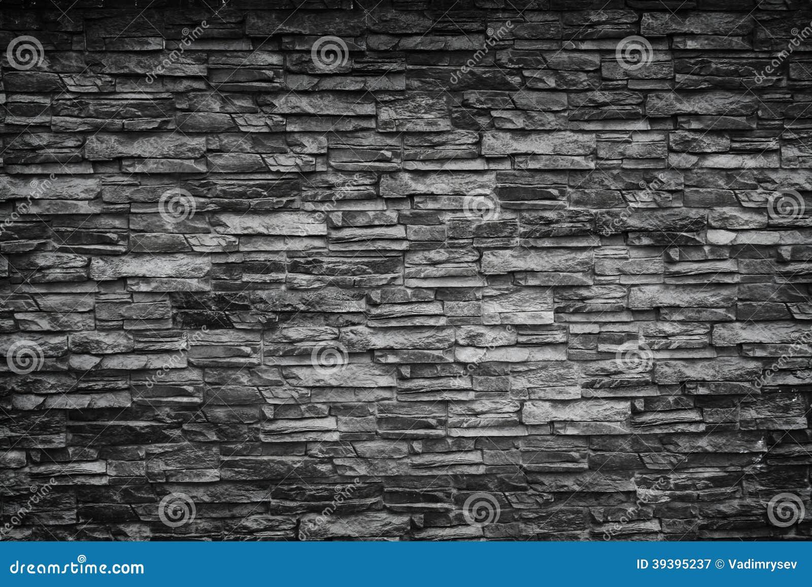 Black Stone Wall Stock Photo - Image: 39395237