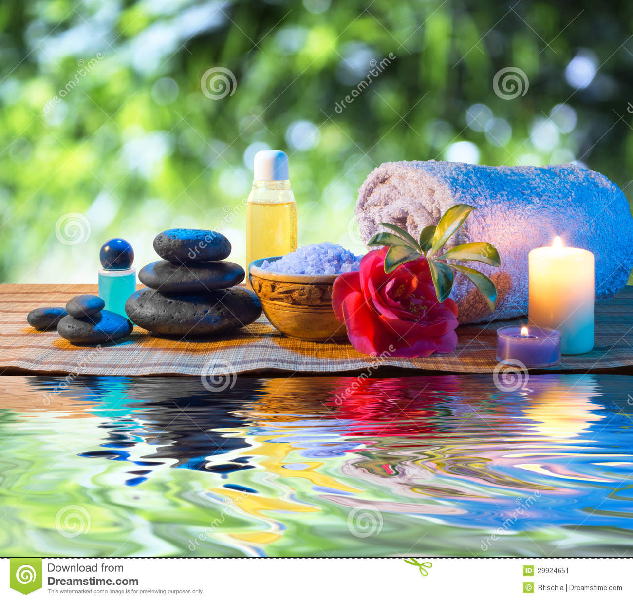 Stones, Candle Camellia Oil Salt Towel On Water Stock ...