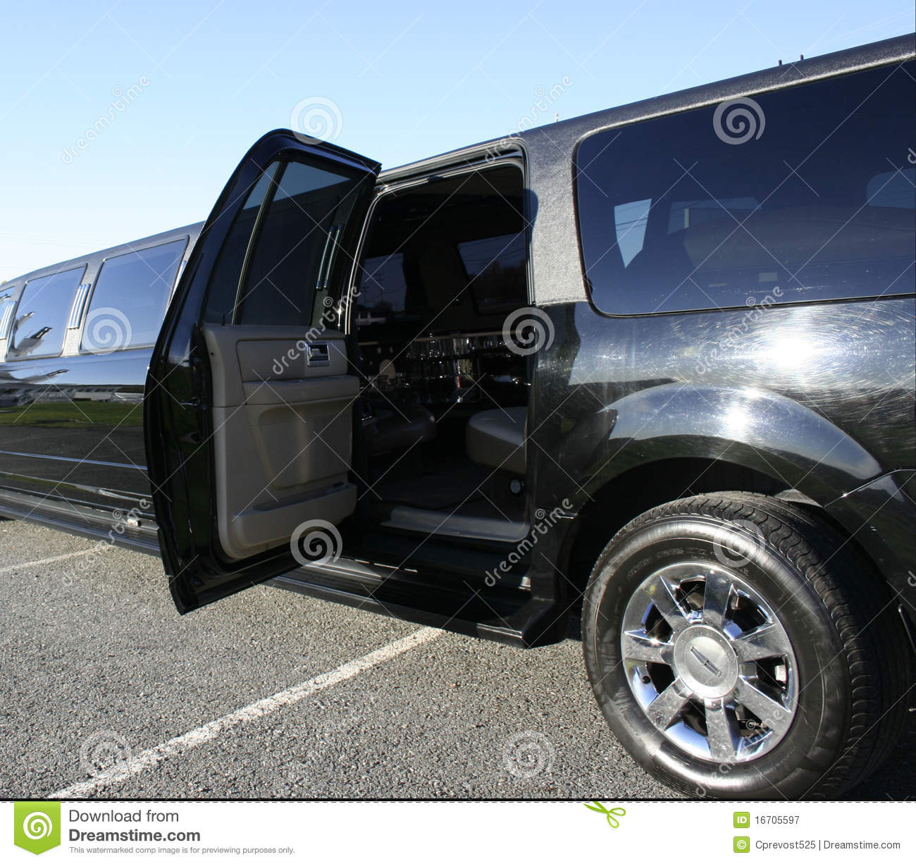 Black stretch limo with door open