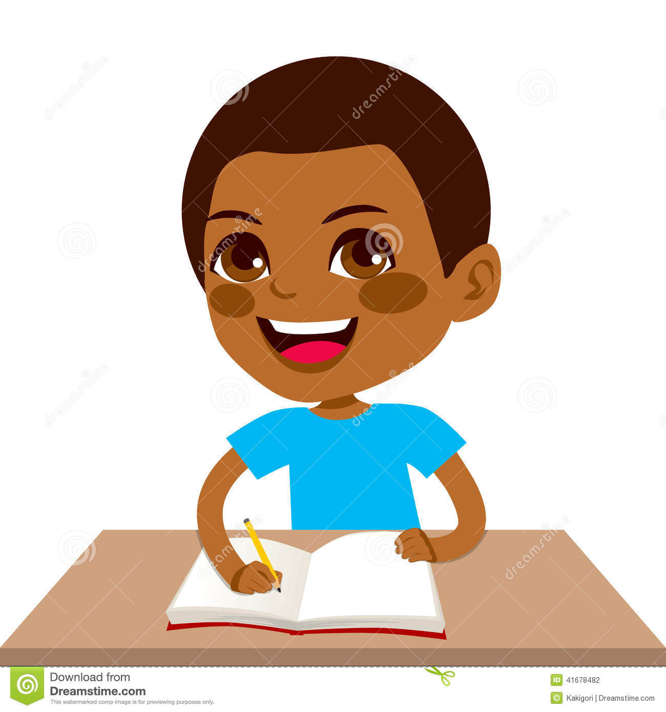 black student boy writing stock vector. illustration of illustration