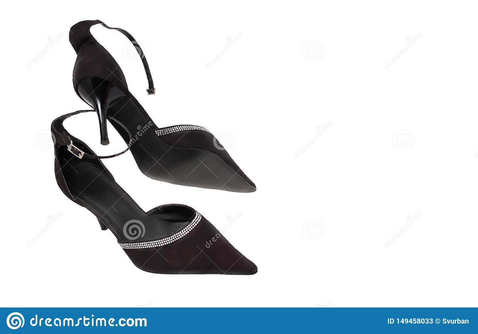 Black shoes on a white background, pointed toe, stiletto heels