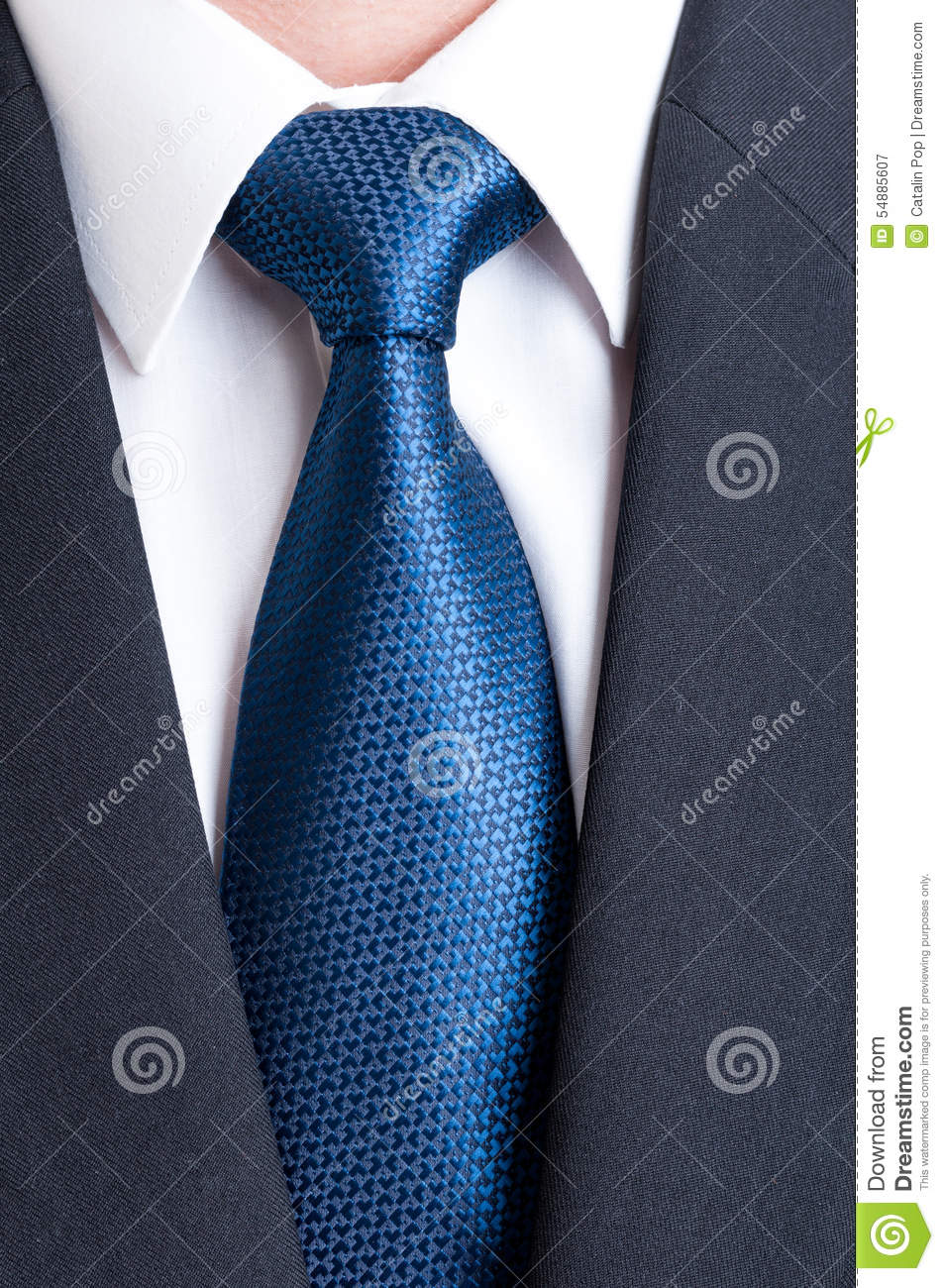 black suit white shirt and blue tie stock photo image