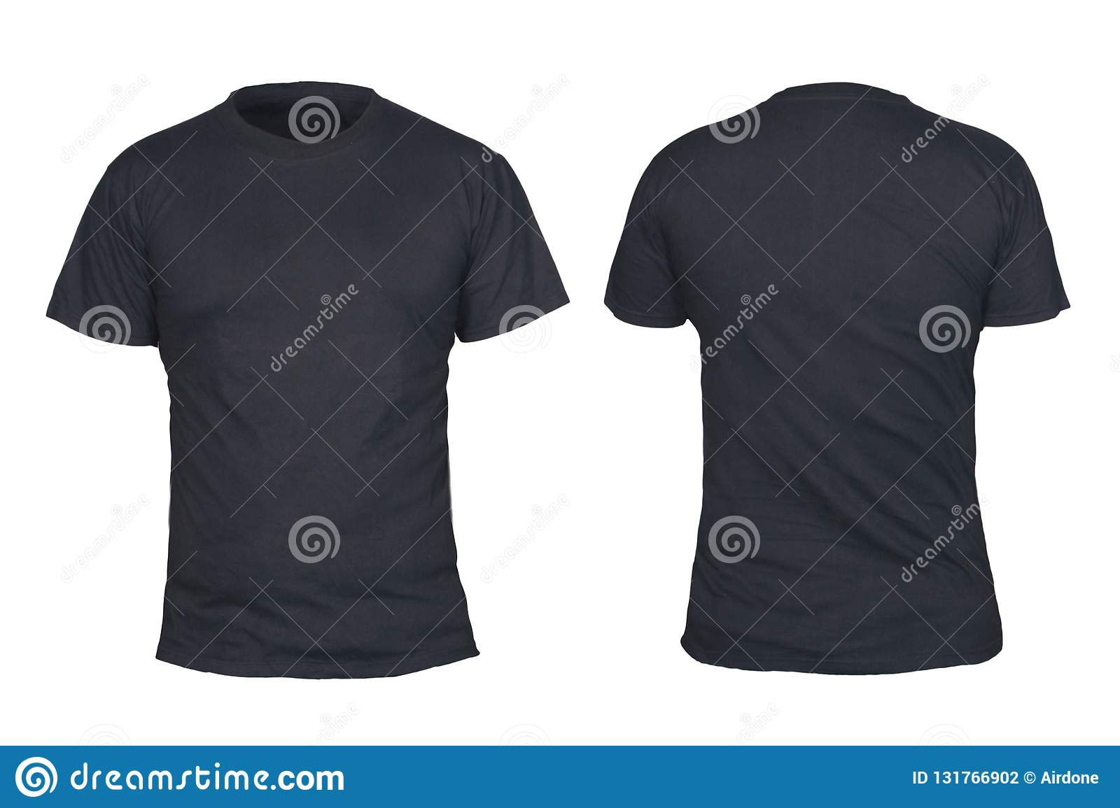 Black t-shirt mock up, front and back view, isolated. Plain black shirt mockup. Short sleeve shirt design template. Blank tees for