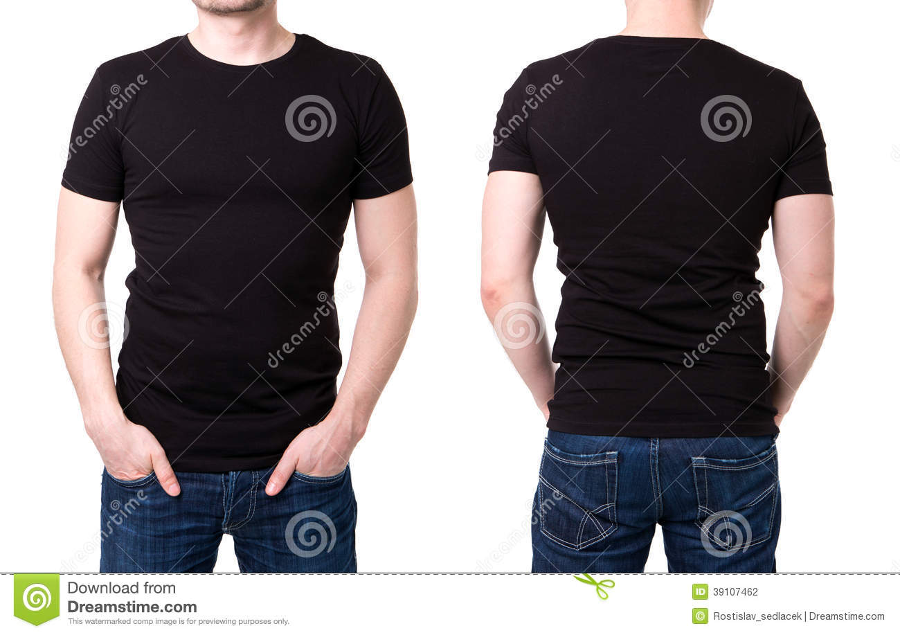 Black t shirt on a young man template stock photo image for Make photo t shirt online