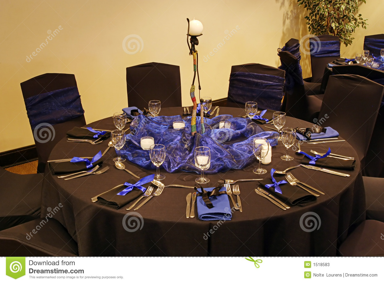 Black Table Setting Stock Image Image Of Theme