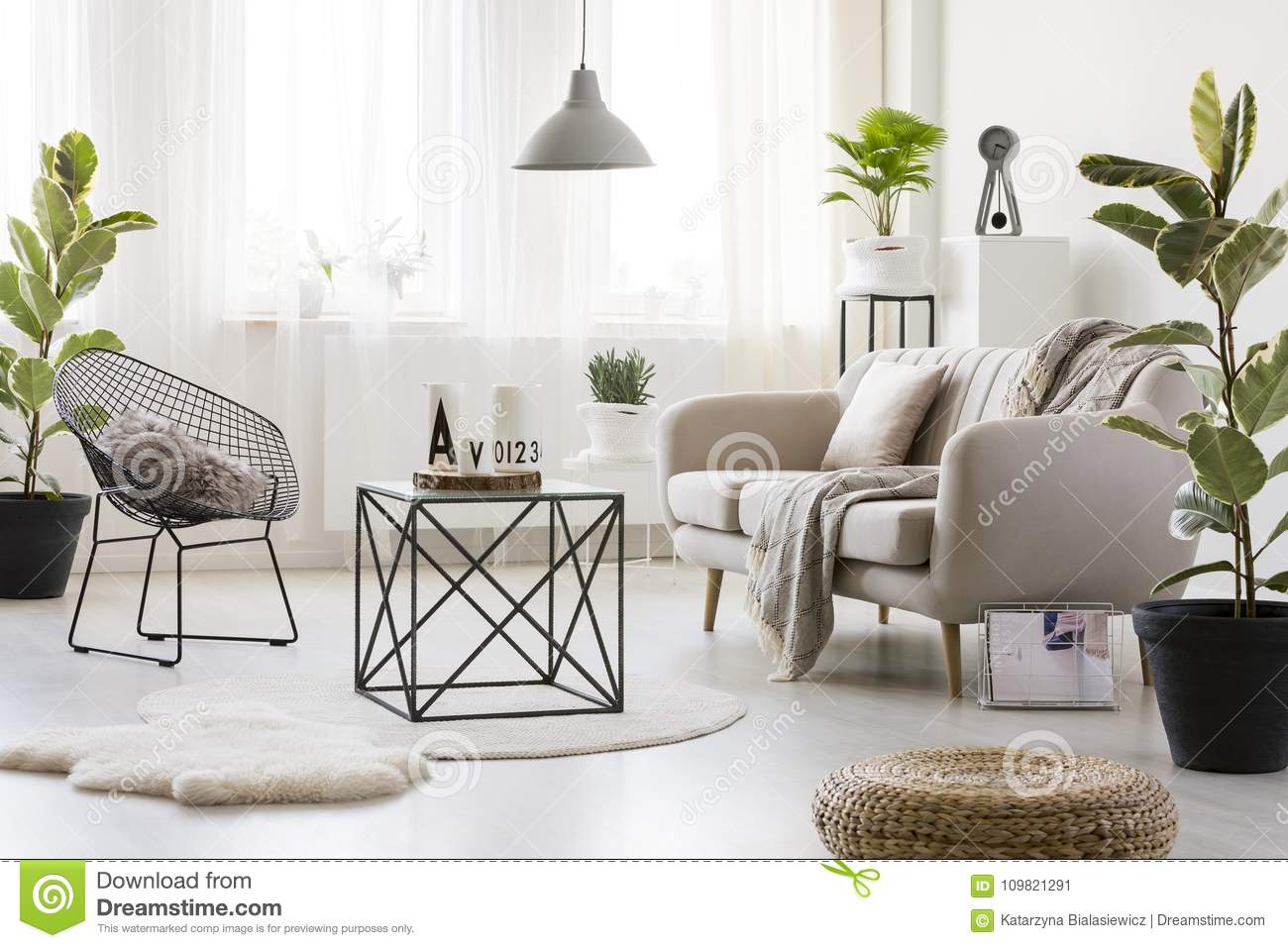 Sofa in bright living room stock image. Image of bright - 109821291