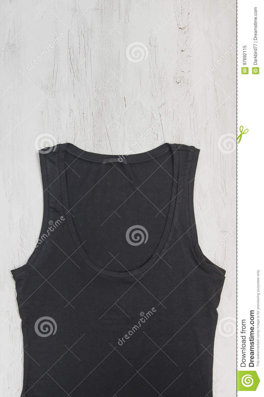 Black Tank Top On Wooden Background Mock Up Design Template Stock