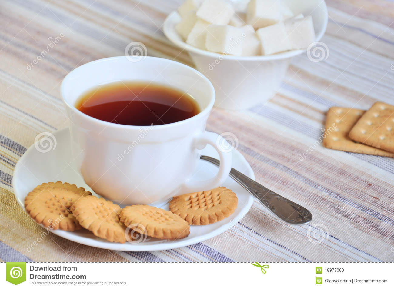 Black Tea With Cookies And Sugar Stock Photo - Image: 18977000