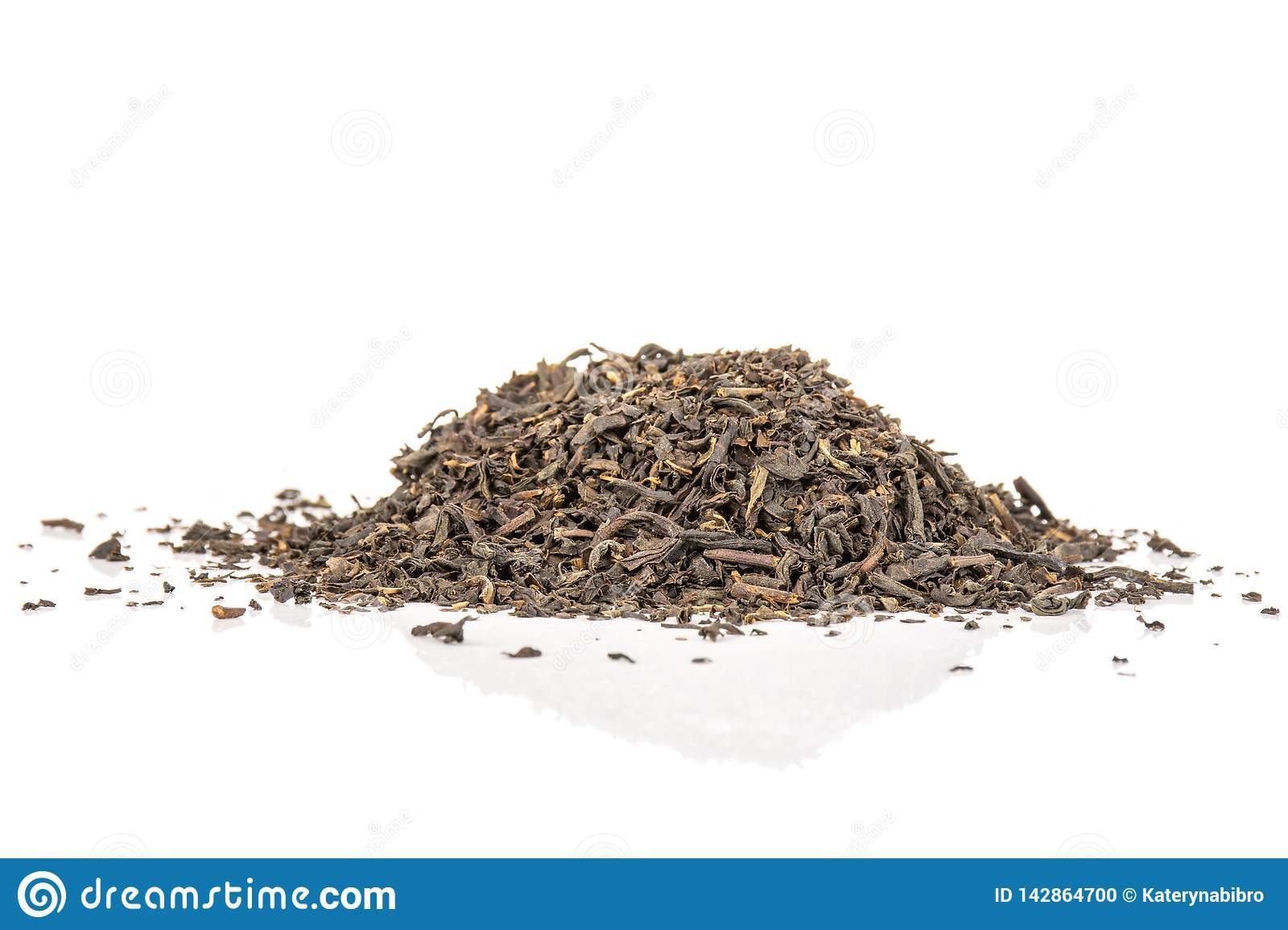 Black tea earl grey isolated on white
