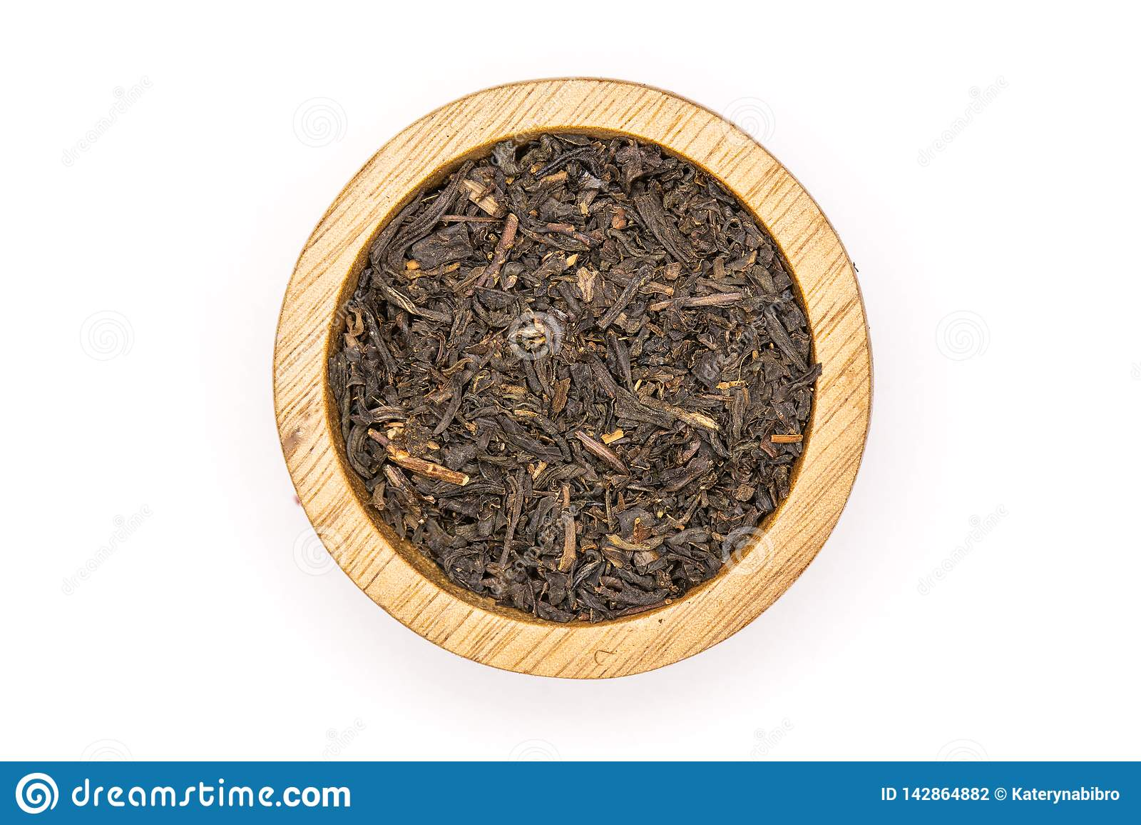 Black tea earl grey isolated on white