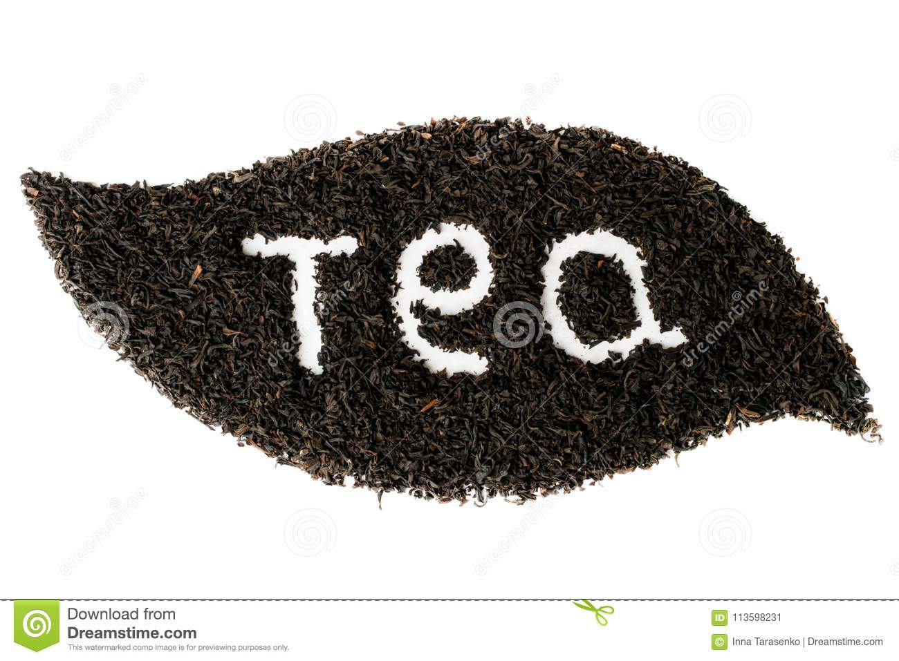 Black tea leaves lined with leaf shape on white background isolated.