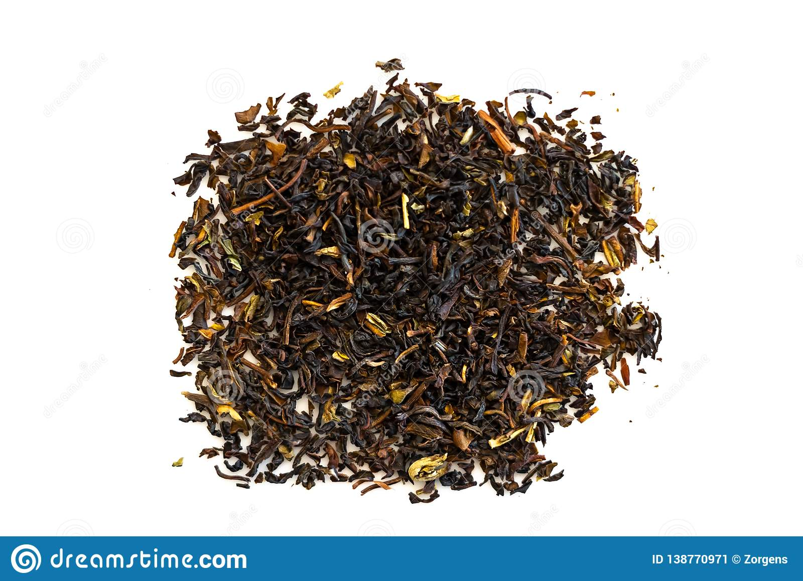 Black tea loose dried tea leaves, isolated on the white background