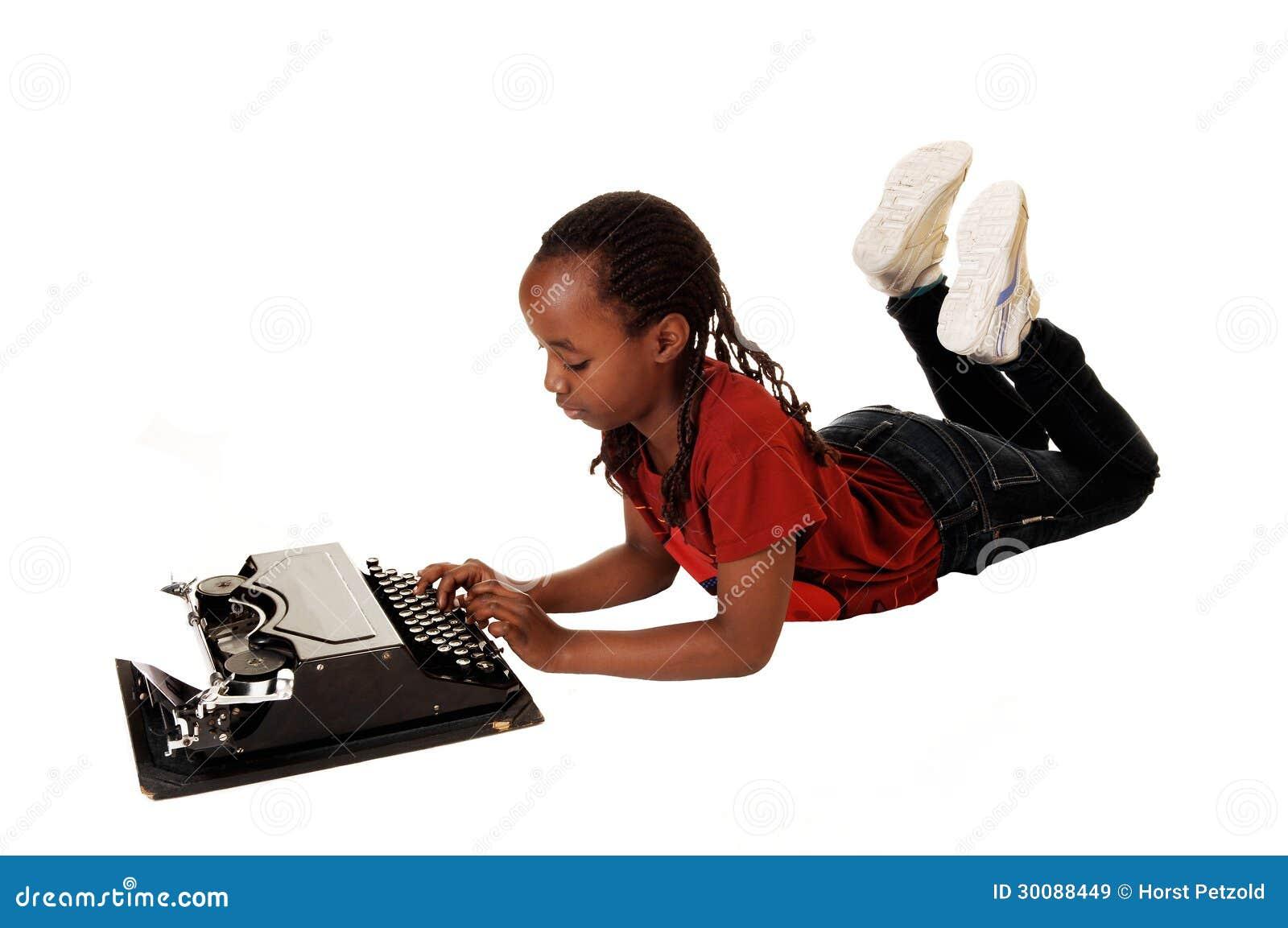 School Girl With Typewriter Stock Image - Image Of -9530