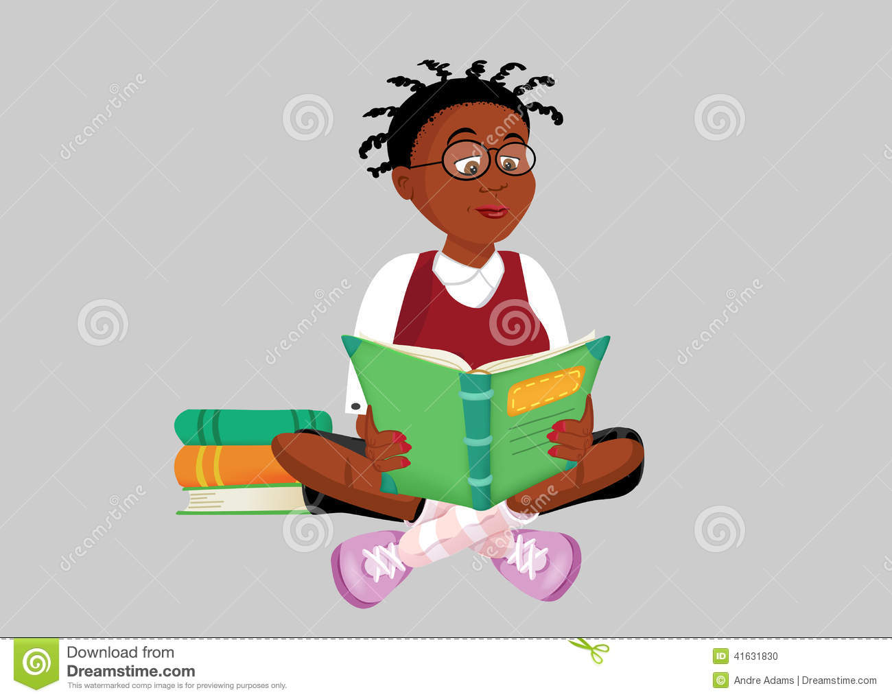 Black teenager reading a book