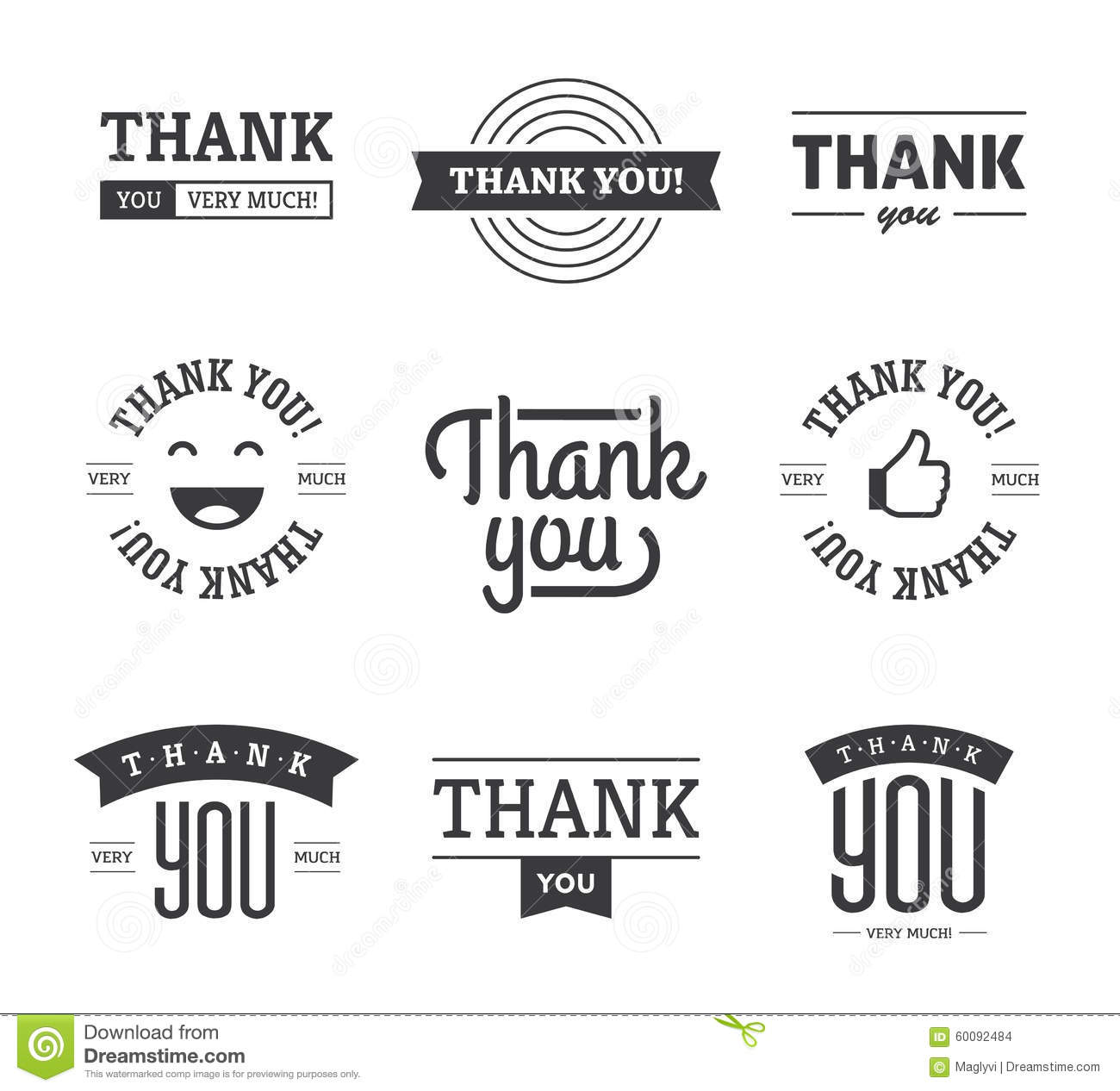 Black Thank You Labels And Signs Stock Vector - Image ...
