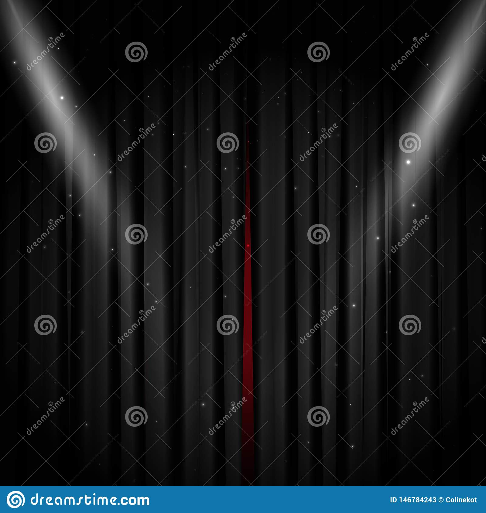 Opened black stage curtain