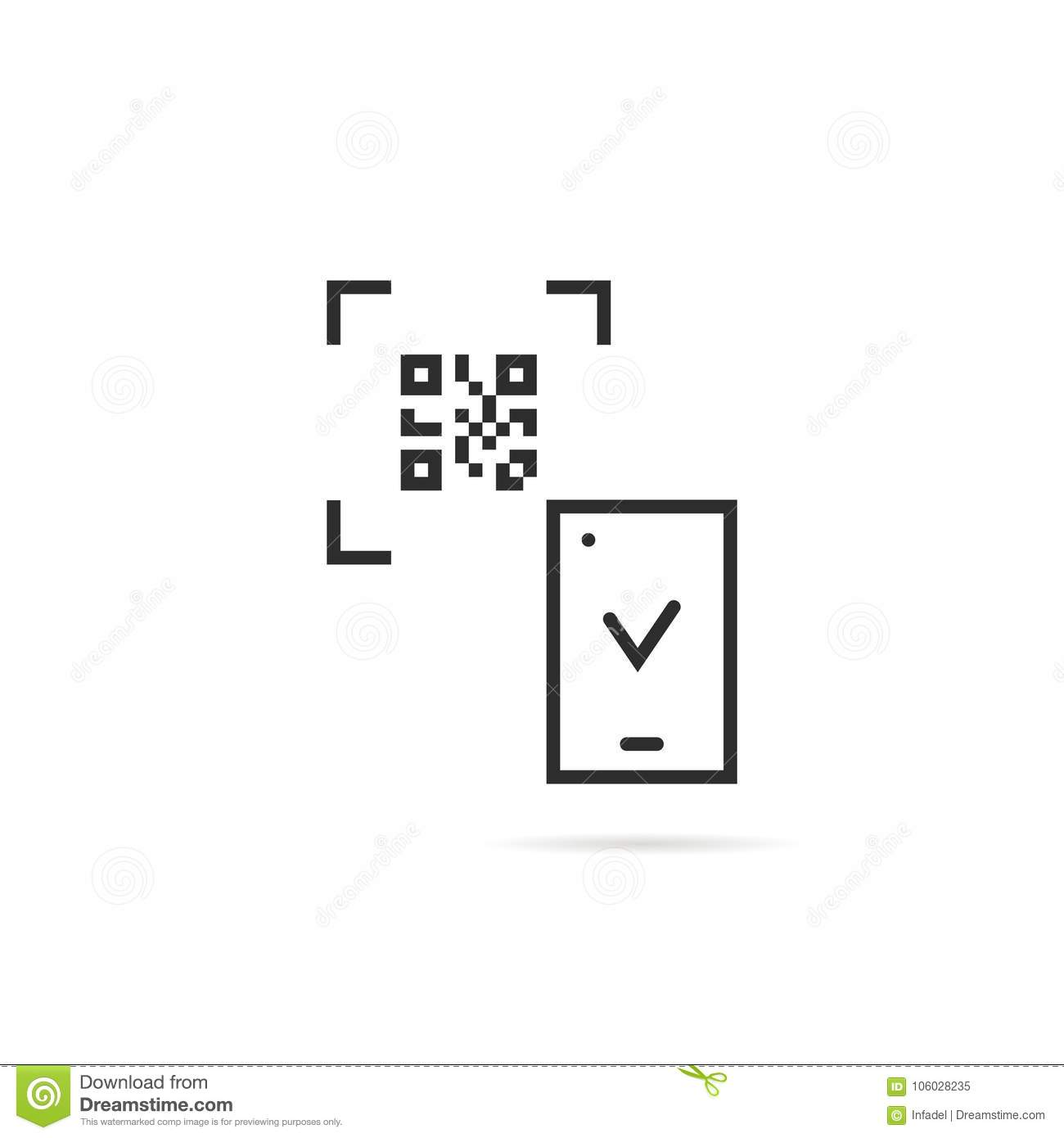 Black Thin Line Qr Code Scanning On White Background Stock Vector