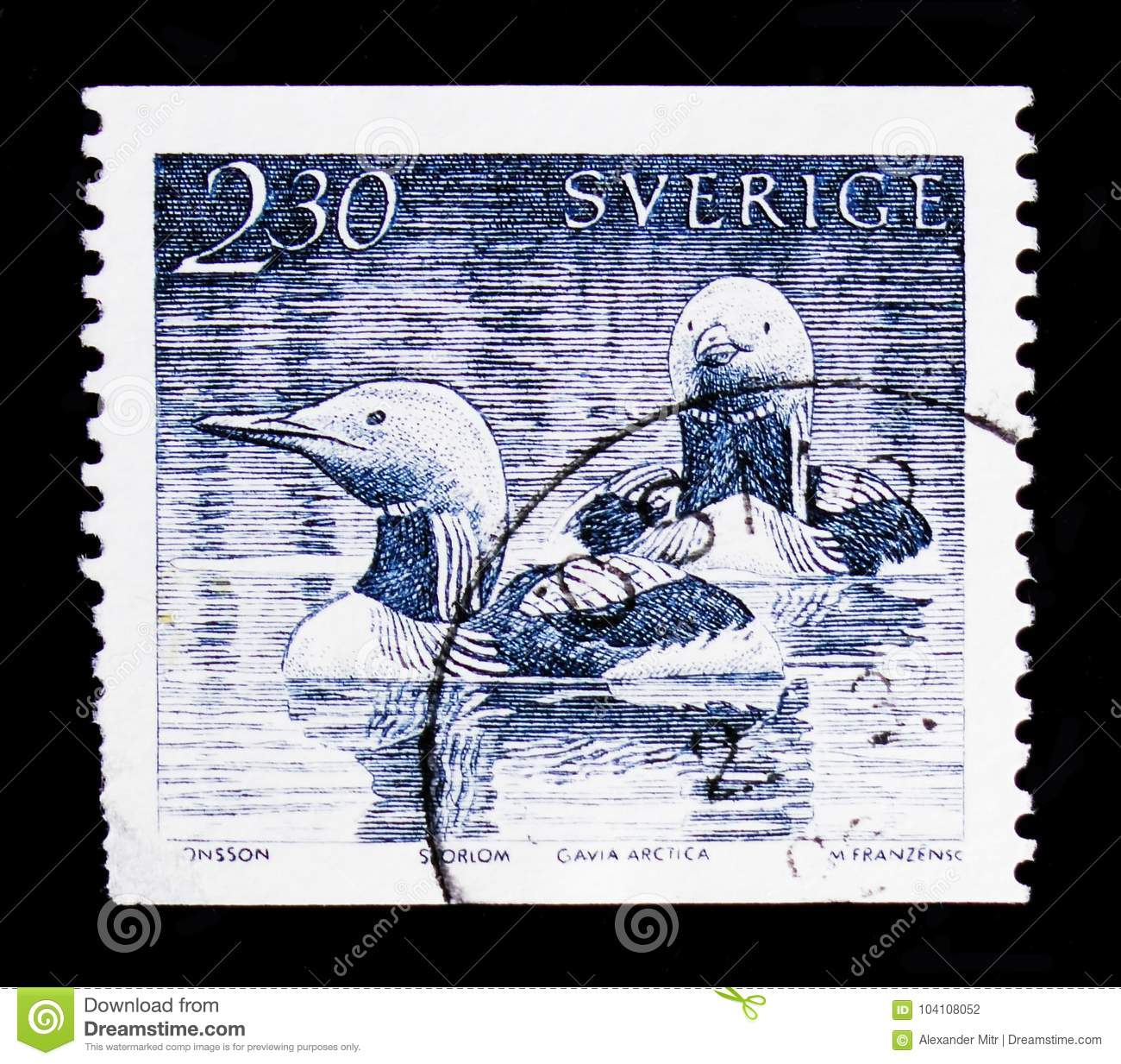 MOSCOW, RUSSIA - OCTOBER 3, 2017: A stamp printed in Sweden shows Black-throated Loon (Gavia arctica), Water Birds serie, circa 1