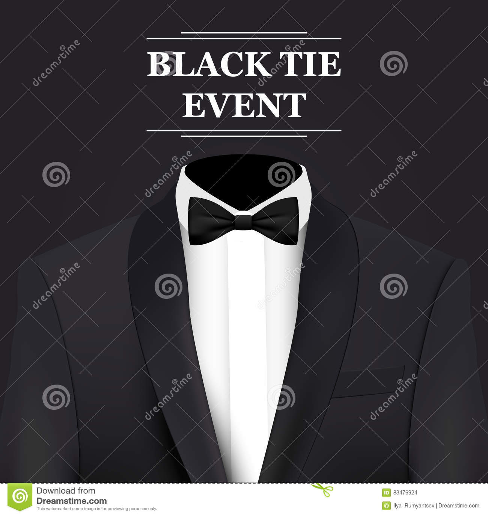 Black tie event invitation card stock vector illustration of black tie event invitation card royalty free vector download stopboris Images