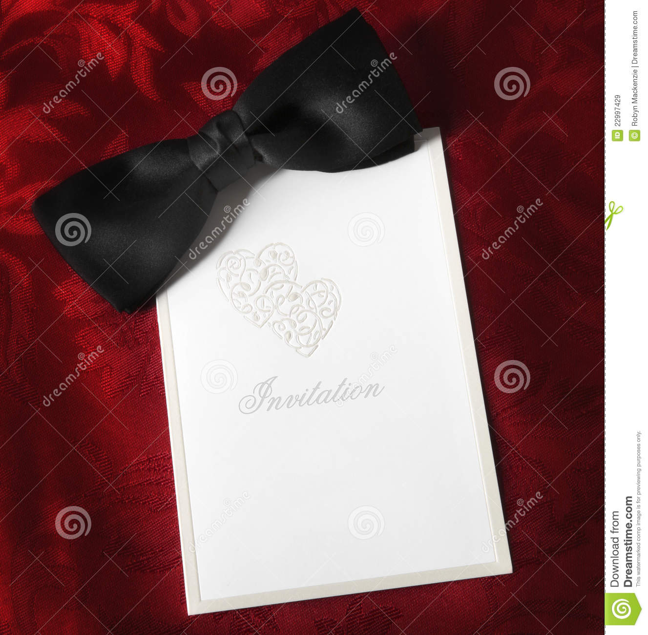 Black Tie Invitation stock image. Image of silk, blank ...