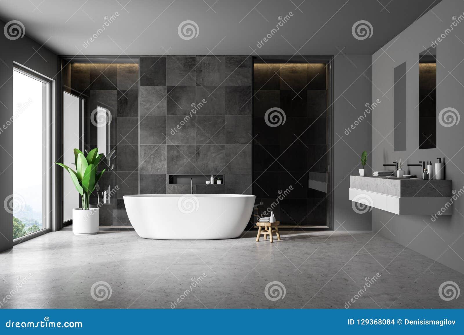 Black Tile Bathrom Interior Tub And Sink Stock Illustration