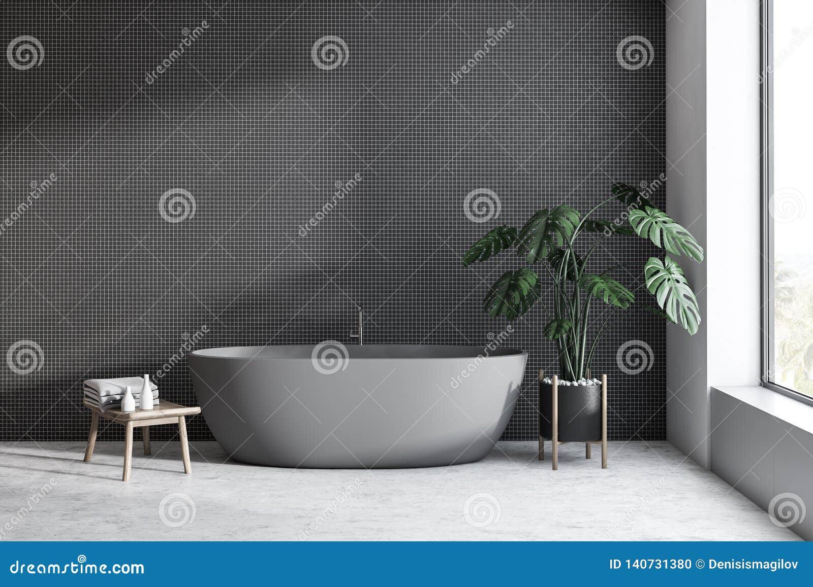 Black Tile Bathroom Interior With Gray Tub Stock Illustration