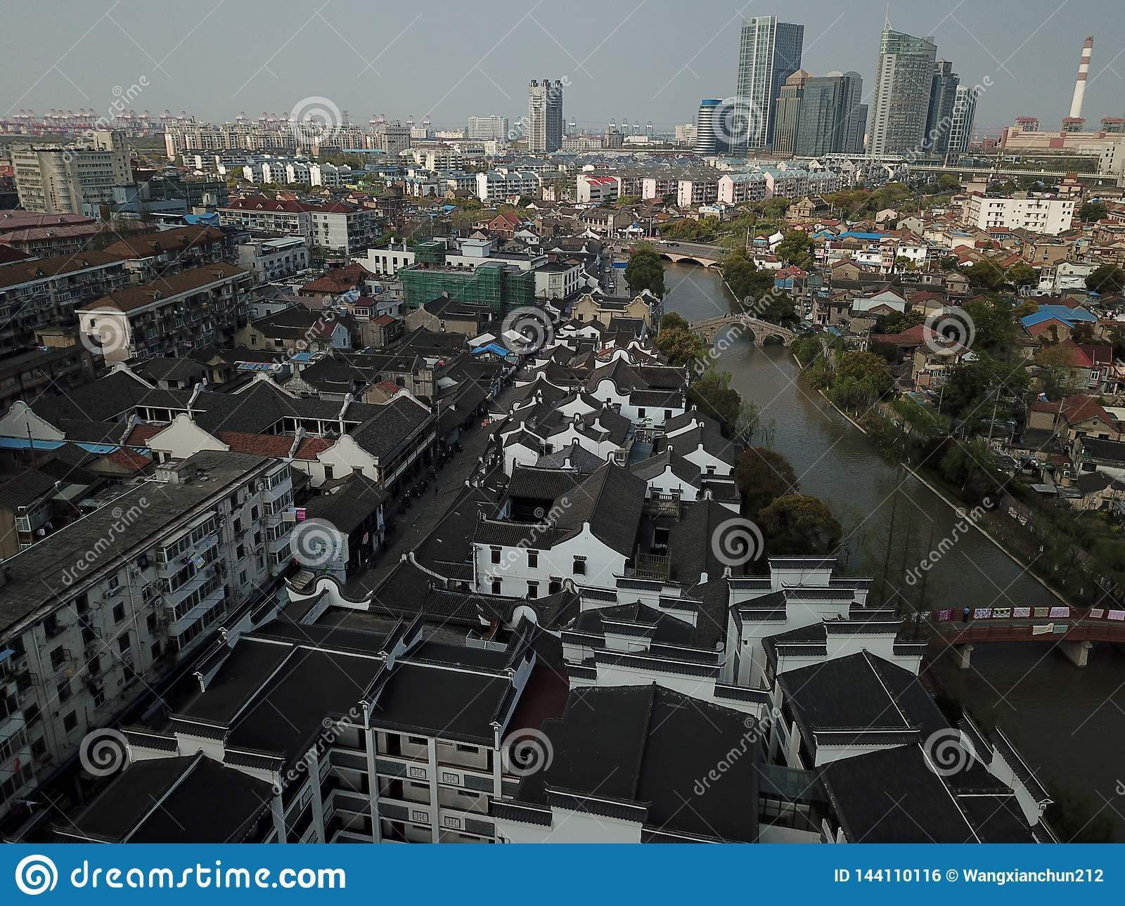 Black tile roof in Gaoqiao Ancient Town, Shanghai